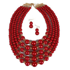 New Fashion  Red Statement Pearls Beads Necklace  Party Set