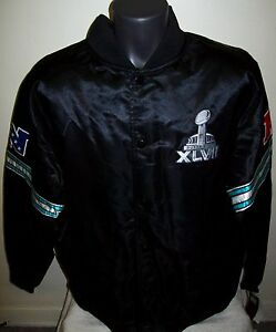 NFL SUPER BOWL XLVII STARTER Commemorative Satin Jacket XXL New Orleans BLACK