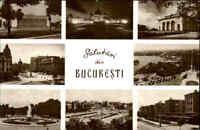Rumänien Romina Postkarte Postcard Bukarest Bucaresti s/w Mehrbild-AK Bauwerke