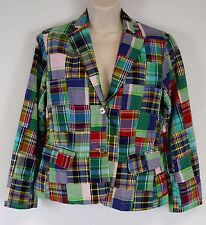 Land's End Women's 6 Patchwork Madras Plaid Blazer Jacket, Multi-Color
