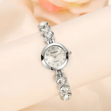 Sparkly Solitaire Rhinestone Silver Tone Lady Quartz Bracelet Watch Bling Gift