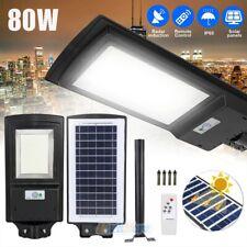 80W Commercial 462 Led Solar Street Light Motion Sensor Dusk-to-Dawn+Remote+Pole