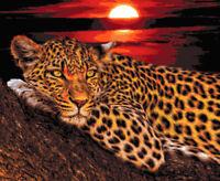 Leopard at Sunset Counted Cross Stitch Pattern Jaguar Big Cat Pixel Art Chart