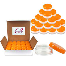 50PCS 5G/5ML Round Clear Plastic Sample Pot Jars Container Orange Lids BPA free