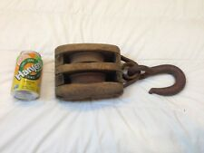 Antique Wood/Cast Iron Boat Ship Maritime Farm Barn Double Block & Tackle Pulley