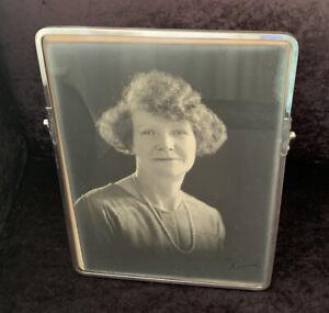 """Rare Large Size Original Art Deco Chrome Photo Frame - 12"""" x 9"""""""