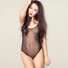 Women's Sexy Lingerie One-Piece Swimwear High Cut Sheer Leotard Thong Bodysuit