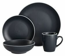 Ladelle Temper 16-piece Dinner Set White Trim in Green Grey Tali Charcoal