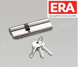 ERA 6 Pin Anti pick Euro Profile Double Door Cylinder 45/55 -  Brass & Nickel