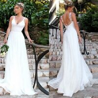 Womens Lace Bridal Formal Wedding Dress Sexy Sleeveless Backless Maxi Dress