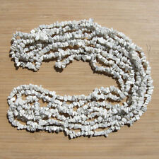 """Lot of 4 Strands Polished Howlite Crystal Gem Chips Beads White & Gray Stone 34"""""""