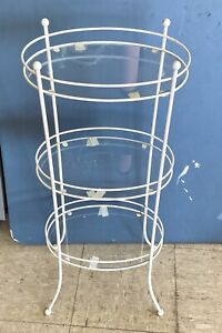 "MID Century VINTAGE 3 TIER WROUGHT IRON OVAL GLASS SHELF PLANT STAND 32"" Tall"
