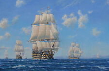"HMS Victory Nelson Trafalgar Warship Royal Navy Painting Art Print - 14"" Print"