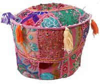 "12"" Peachwork Ottoman Bean Bag Footstool Pouf Bean Bag Vintage Round Boho Cover"