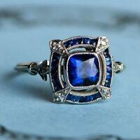 4Ct Cushion Blue Sapphire Syn Diamond Art Deco Antique Ring White Gold FN Silver