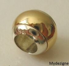 GENUINE  SERENITY 9ct SOLID YELLOW  & WHITE GOLD  CHARM  DOME  BEAD BRACELET