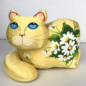 JAN FEENSTRA Artist Signed 1980 Stuffed Art CAT Yellow Handpainted Flowers