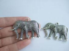 3 Large Tibetan Silver Animal Lucky Elephant Charms Pendants 53mm x 38mm