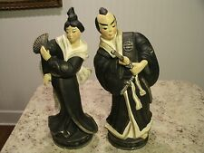 Two Hand Painted Asian Ceramic Statues Woman w Fan Man w Sword Black Robes Japan