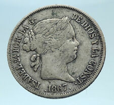 1867 SPAIN Queen ISABELLA II Antique Genuine Silver 40 Cents Spanish Coin i78341