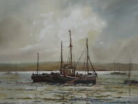 WATERCOLOUR ON THE ESTUARY LISTED ARTIST KEITH BURTONSHAW FREE SHIPPING ENGLAND