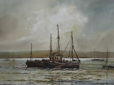 Artista acuarela en el estuario enumerados Keith Burtonshaw Inglaterra Envío Gratuito