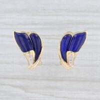 Lapis Lazuli Diamond Drop Earrings 14k Gold Pierced Omega Backs Blue Stone