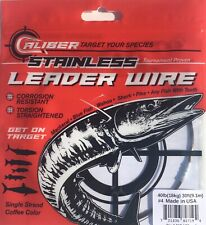Caliber Stainless Steel Fishing Wire Leader 86lb #8 Single Strand 30ft spool