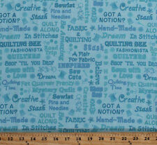 Sewing Quilters Seamstress Shopping Words Blue Cotton Fabric Print BTY D507.14