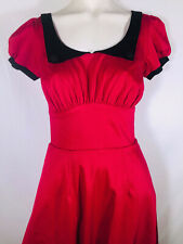 S NWT Pinup Girl Couture Red Puff Sleeve Flare Dress 30s Style