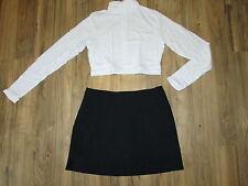 "Adult L Cheerleader Uniform Outfit White Crop Top 38"" Black Skirt 30"" CHEER"