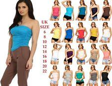 e272ea1e2d Womens Sleeveless Boob tube Bandeau Strapless Ruched Vest Top Plus Size t  shirt