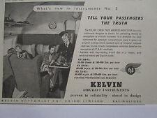 11/1946 PUB KELVIN AIRCRAFT INSTRUMENTS CABIN AIRSPEED INDICATOR ORIGINAL AD