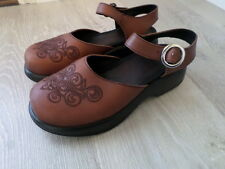 Dansko Brown Leather Embroidered Ankle Strap Clogs. Size Women's EU 37