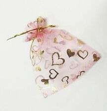 "Organza Bags Pink Red Heart Mother's Gift Pouch Candy Wedding Favor 6x4"" 24 pcs"