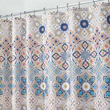 mDesign Decorative Medallion Print, Easy Care Fabric Shower Curtain with Reinfo