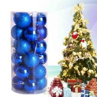 24x Christmas Balls Baubles Party Xmas Tree Decoration Hanging Ornament Blue Jʌ