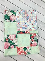 Vintage Baby Crib Coverlet Blanket Quilt Patchwork Floral Mint Red Pink Navy