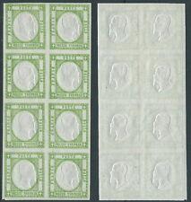 1861 PROVINCE NAPOLETANE 1/2 TORNESE VERDE BLOCCO DI 8 VALORI MNH ** - Y178