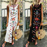 Women's Kaftan Sleeveless V-Neck Maxi Dress Hem Baggy Linen Printed Long Dress