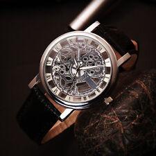 Mens Womens Stylish Roman Numerals Faux Leather Skeleton Sports Wrist Watch New
