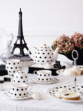 Bombay duck pot à lait, loulou noir & blanc taches coffret cadeau, tea party, pois