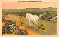 Linen Postcard NV C374 Indian Homeward Bound Nevada Horse 1942 Flowers Desert