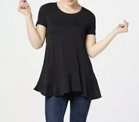 LOGO by Lori Goldstein Short Sleeve Knit Top with Asymmetric Hem Black Small NEW