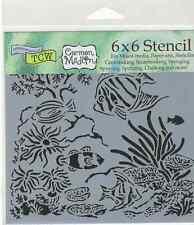 STENCIL - AQUARIUM Angel Fish + Mixed Media Collage Add texture design to Cloth