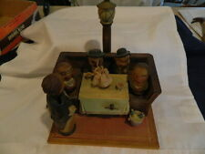 Vintage Anri Wood Carved Bar Set 4 Men At Table W Girl Dancing To Music From Box