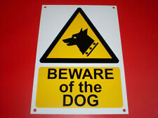 Beware Of The Dog A5 Sign Pre-Drilled Plastic Screen Printed Security Pet Guard