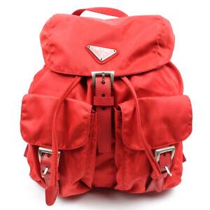 PRADA Backpack Triangle Logo Nylon Red