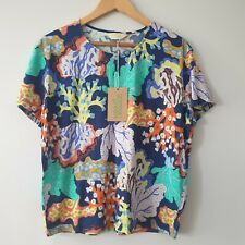 Gorman Floral Coral Tee Womens Size 10 Short Sleeve 100% Organic Cotton