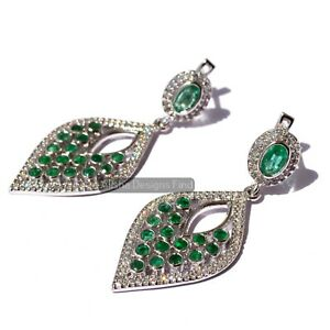 Natural Emerald Gemstone 925 Sterling Silver Designer Dangle Drop Leaf Earrings